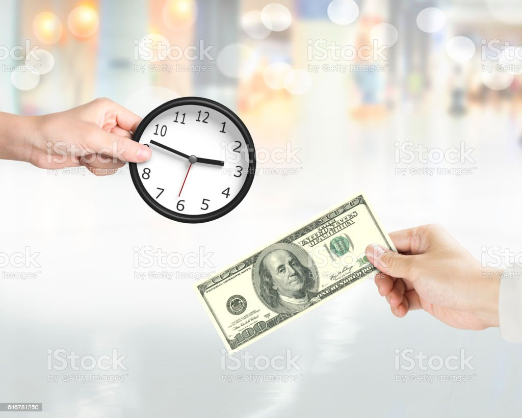 Buying time, time is money concept. stock photo