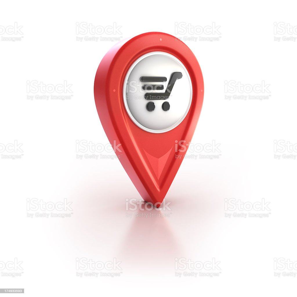 buying trolley market location pin stock photo