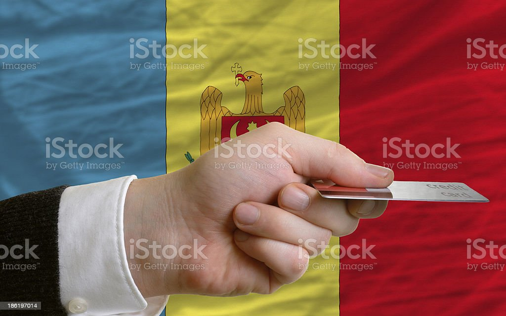 buying with credit card in moldova stock photo