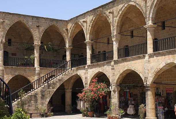 buyuk han caravaserai, nicosia, northern cyprus - karavanserai stockfoto's en -beelden