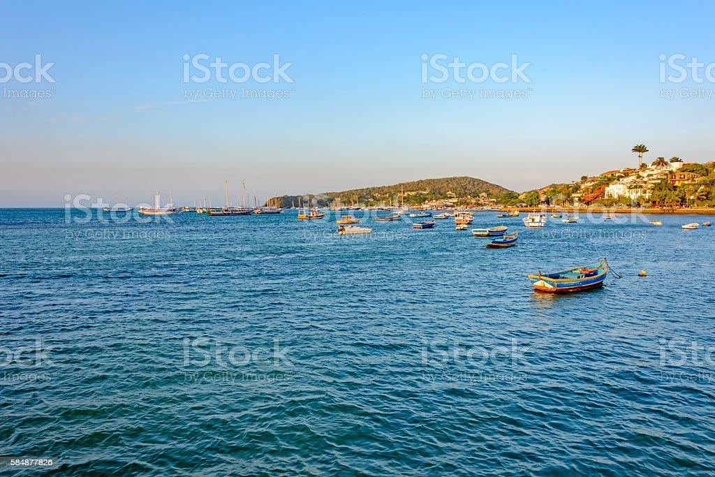 Buzios city and sea stock photo