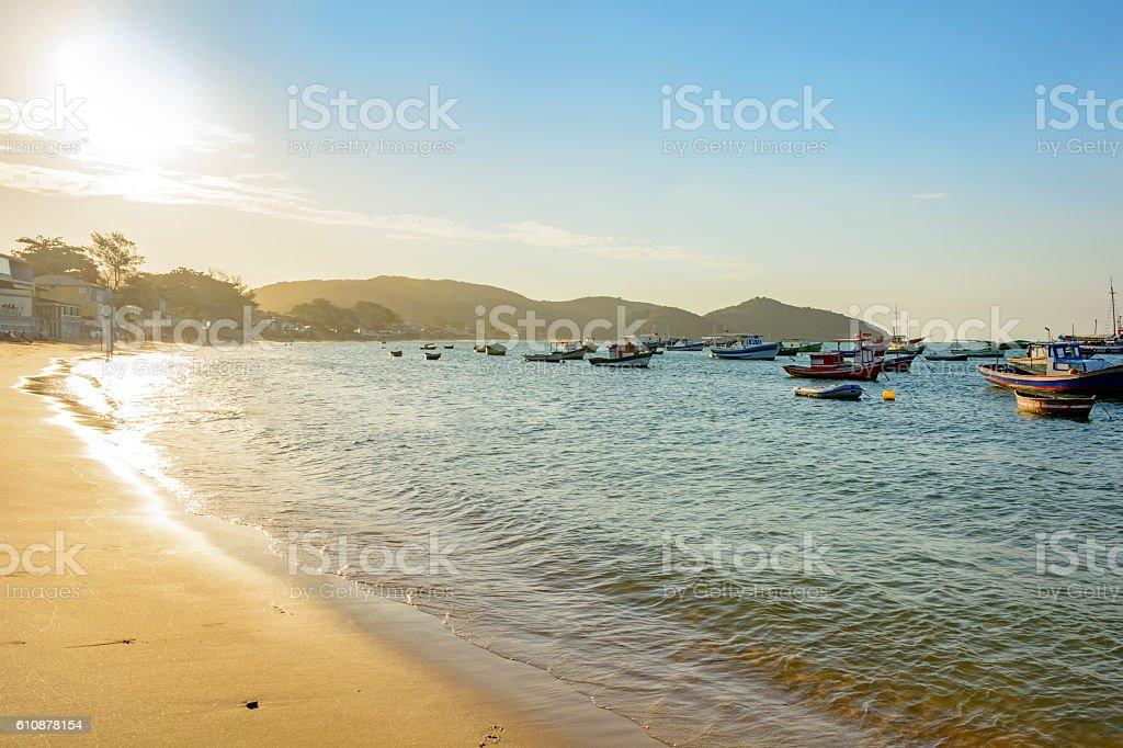 Buzios city, beach and sea stock photo