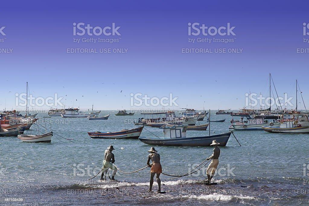 Buzios - Fishermen Sculpture stock photo