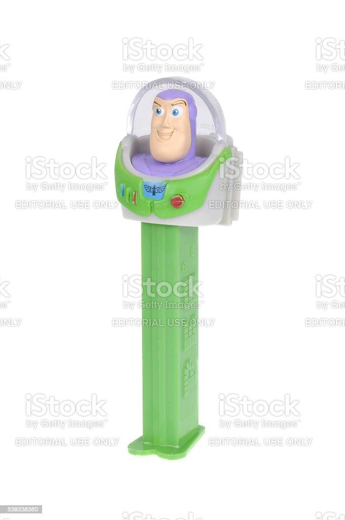 Buzz Lightyear Giant Pez Dispenser stock photo