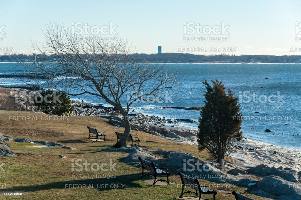 Buzzards Bay coastline in winter stock photo