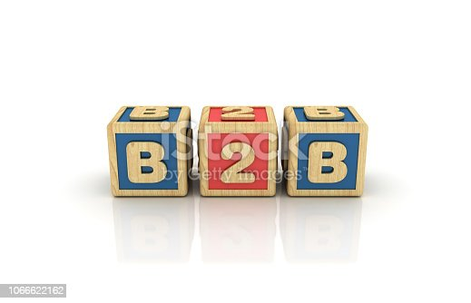 B2B Buzzword Cubes - White Background - 3D Rendering