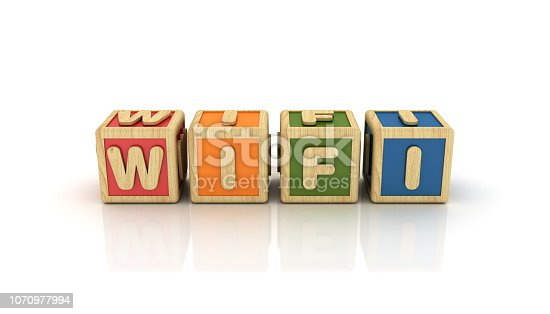 WIFI Buzzword Cubes Cubes - White Background - 3D Rendering