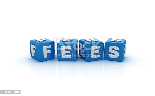FEES Buzzword Cubes - White Background - 3D Rendering