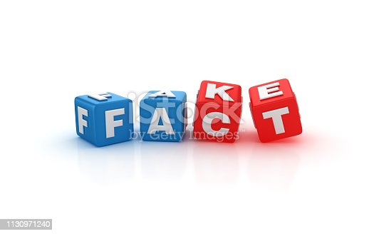 FAKE FACT Buzzword Cubes - White Background - 3D Rendering