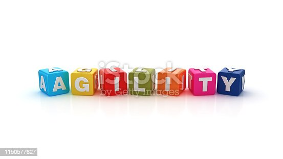 844020228 istock photo AGILITY Buzzword Cubes - 3D Rendering 1150577627