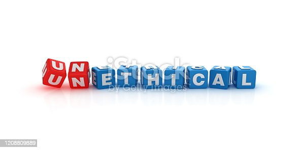 824305956 istock photo UNETHICAL / ETHICAL Buzzword Cubes - 3D Rendering 1208809889