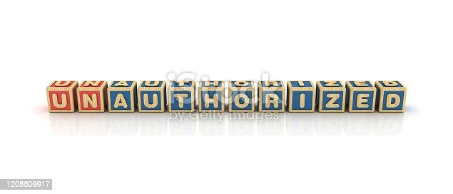 UNAUTHORIZED / AUTHORIZED Buzzword Cubes - White Background - 3D Rendering