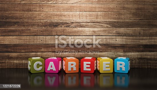 CAREER Buzzword Cubes - White Background - 3D Rendering