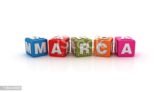 1140385944 istock photo MARCA Buzzword Cubes - Spanish Word - 3D Rendering 1180445003