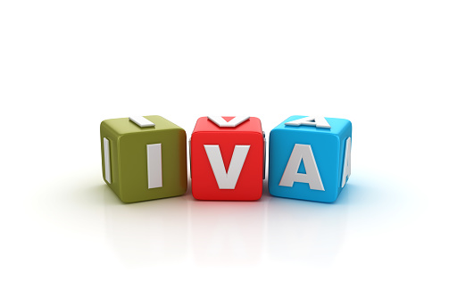 IVA Buzzword Cubes - Spanish Word - White Background - 3D Rendering