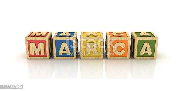 1140385944 istock photo MARCA Buzzword Cubes - Spanish Word - 3D Rendering 1194312640