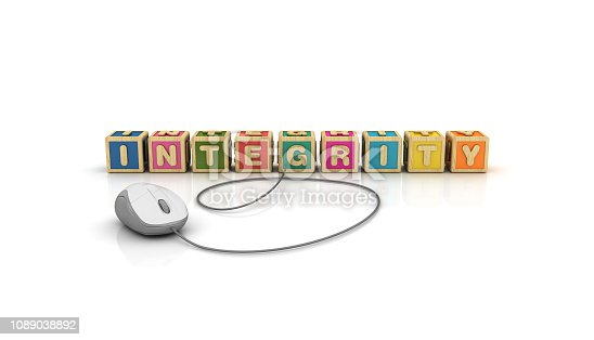 INTEGRITY Buzzword Cubes with Computer Mouse - White Background - 3D Rendering