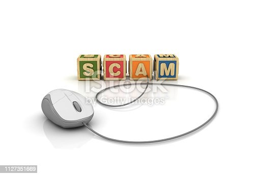 SCAM Buzzword Cubes with Computer Mouse - White Background - 3D Rendering