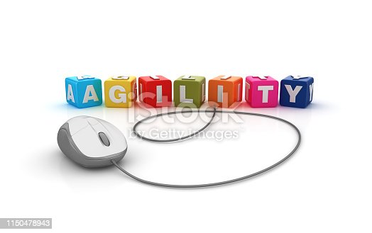 844020228 istock photo AGILITY Buzzword Cubes with Computer Mouse - 3D Rendering 1150478943