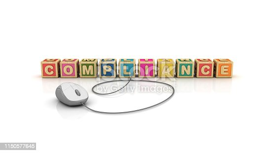 istock COMPLIANCE Buzzword Cubes with Computer Mouse - 3D Rendering 1150577645