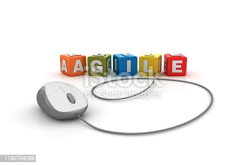 1144568268 istock photo AGILE Buzzword Cubes with Computer Mouse - 3D Rendering 1150704269