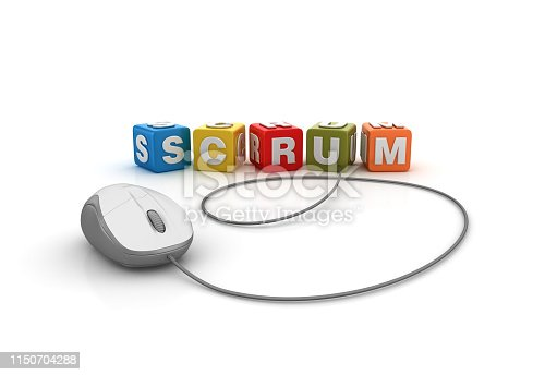 1144568268 istock photo SCRUM Buzzword Cubes with Computer Mouse - 3D Rendering 1150704288