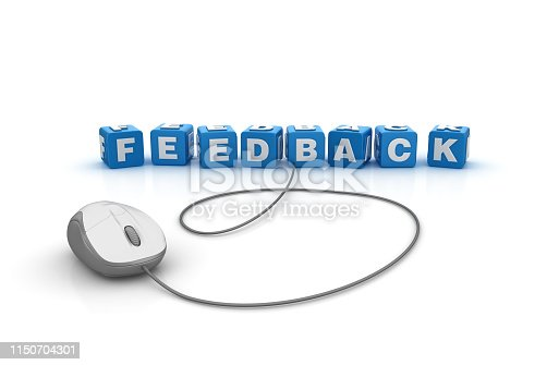 istock FEEDBACK Buzzword Cubes with Computer Mouse - 3D Rendering 1150704301