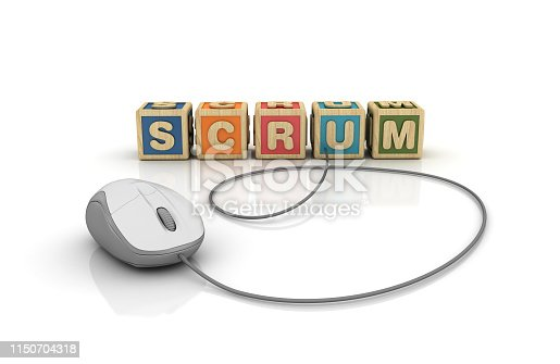 istock SCRUM Buzzword Cubes with Computer Mouse - 3D Rendering 1150704318
