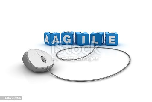 1144568268 istock photo AGILE Buzzword Cubes with Computer Mouse - 3D Rendering 1150799396