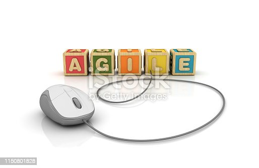 1144568268 istock photo AGILE Buzzword Cubes with Computer Mouse - 3D Rendering 1150801828