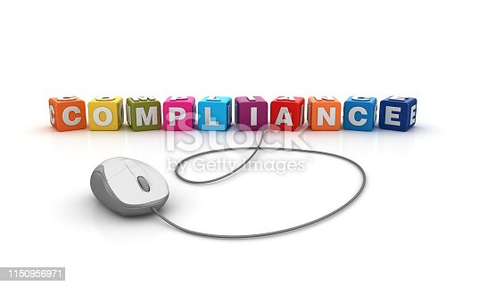 istock COMPLIANCE Buzzword Cubes with Computer Mouse - 3D Rendering 1150956971