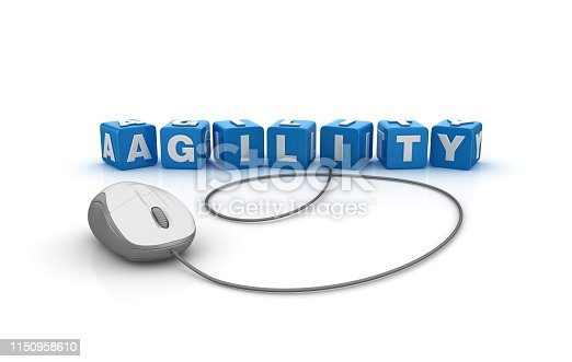 844020228 istock photo AGILITY Buzzword Cubes with Computer Mouse - 3D Rendering 1150958610