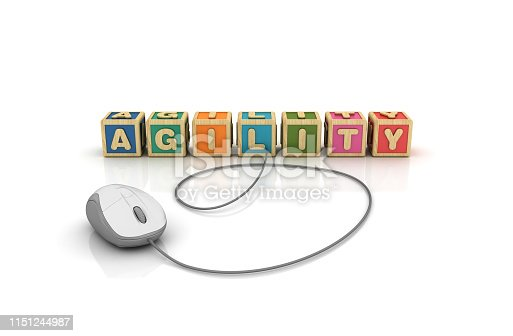 844020228 istock photo AGILITY Buzzword Cubes with Computer Mouse - 3D Rendering 1151244987