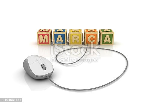 1140385944 istock photo MARCA Buzzword Cubes with Computer Mouse - Spanish Word - 3D Rendering 1194661141