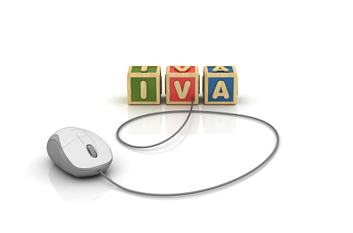 IVA Buzzword Cubes with Computer Mouse - Spanish Word - White Background - 3D Rendering