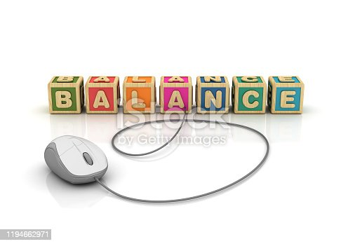 171274866 istock photo BALANCE Buzzword Cubes with Computer Mouse - Spanish Word - 3D Rendering 1194662971