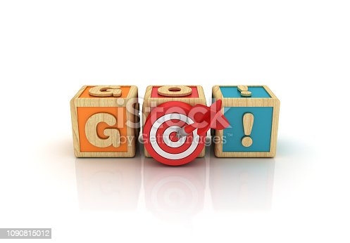 GO! Buzzword Cubes with Target - White Background - 3D Rendering