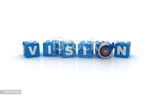 469652019 istock photo VISION Buzzword Cubes with Target and Dart - 3D Rendering 1052047958