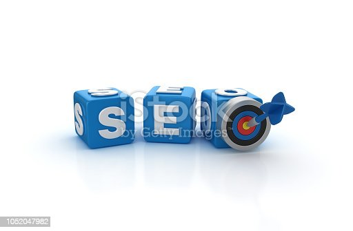 1172996896 istock photo SEO Buzzword Cubes with Target and Dart - 3D Rendering 1052047982