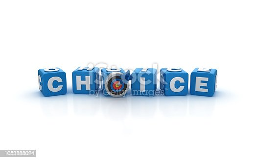 CHOICE Buzzword Cubes with Target and Dart - White Background - 3D Rendering