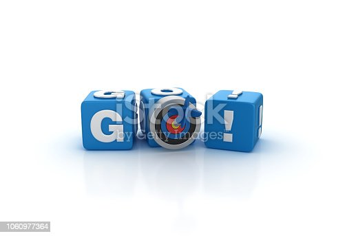 GO! Buzzword Cubes with Target and Dart  - White Background - 3D Rendering