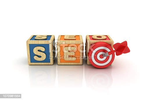 1172996896 istock photo SEO Buzzword Cubes with Target and Dart - 3D Rendering 1070981554