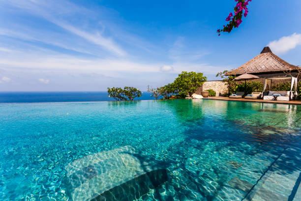 Bvlgari Luxury-Resort at Bali Bali, Urlaubsort, Ferienhaus, Schwimmbecken, Asien fluchtpunktperspektive stock pictures, royalty-free photos & images