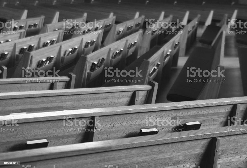 bw church pews 1 stock photo
