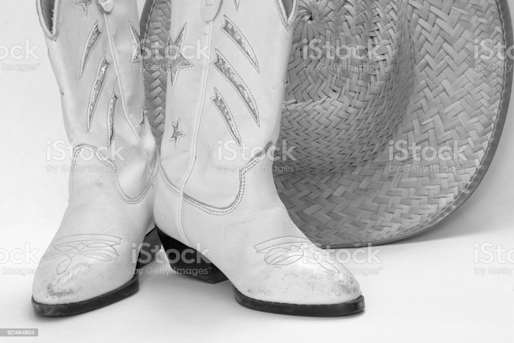 bw cowboy boots and hat royalty-free stock photo