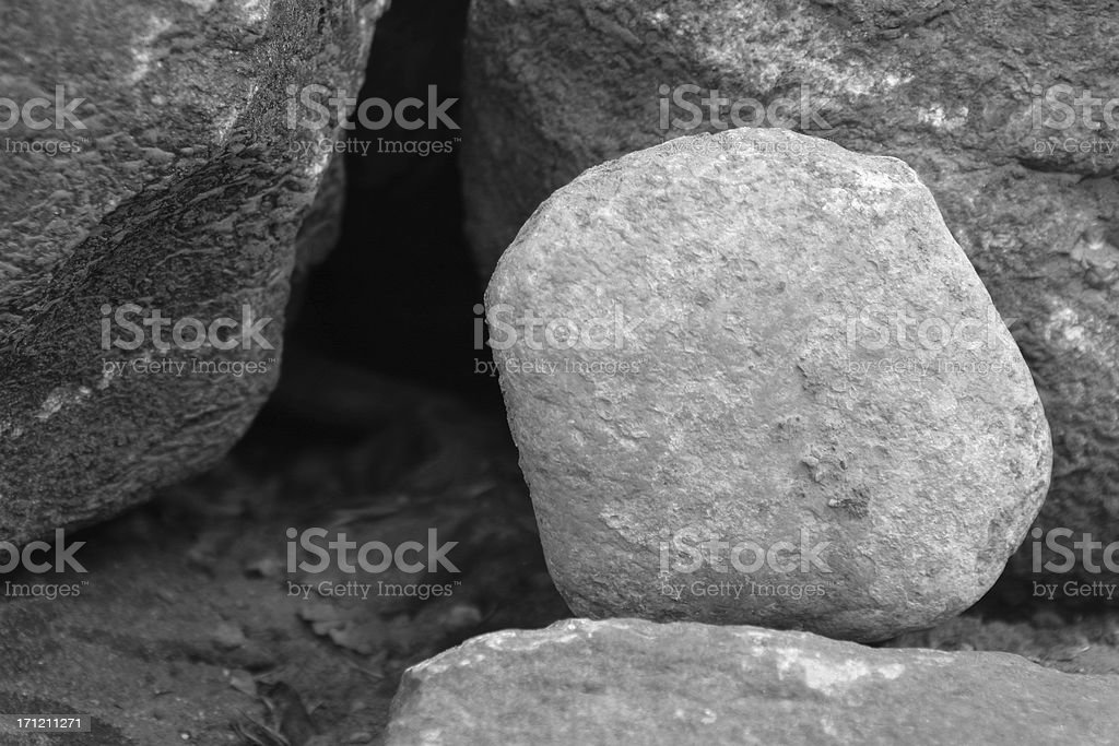 bw Easter He is Risen empty tomb stock photo