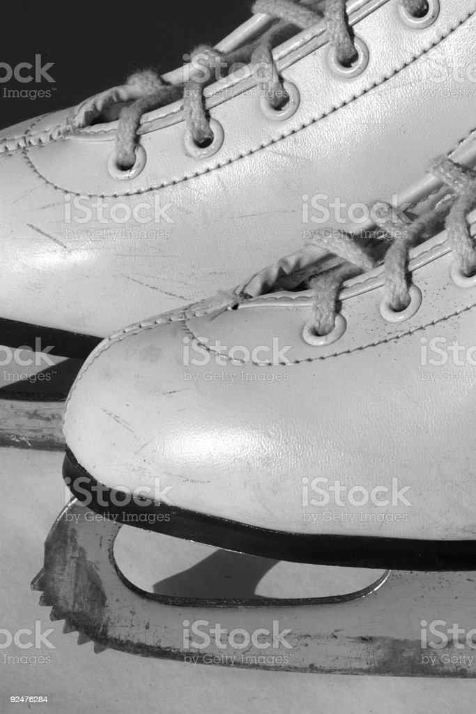 bw figure skates royalty-free stock photo