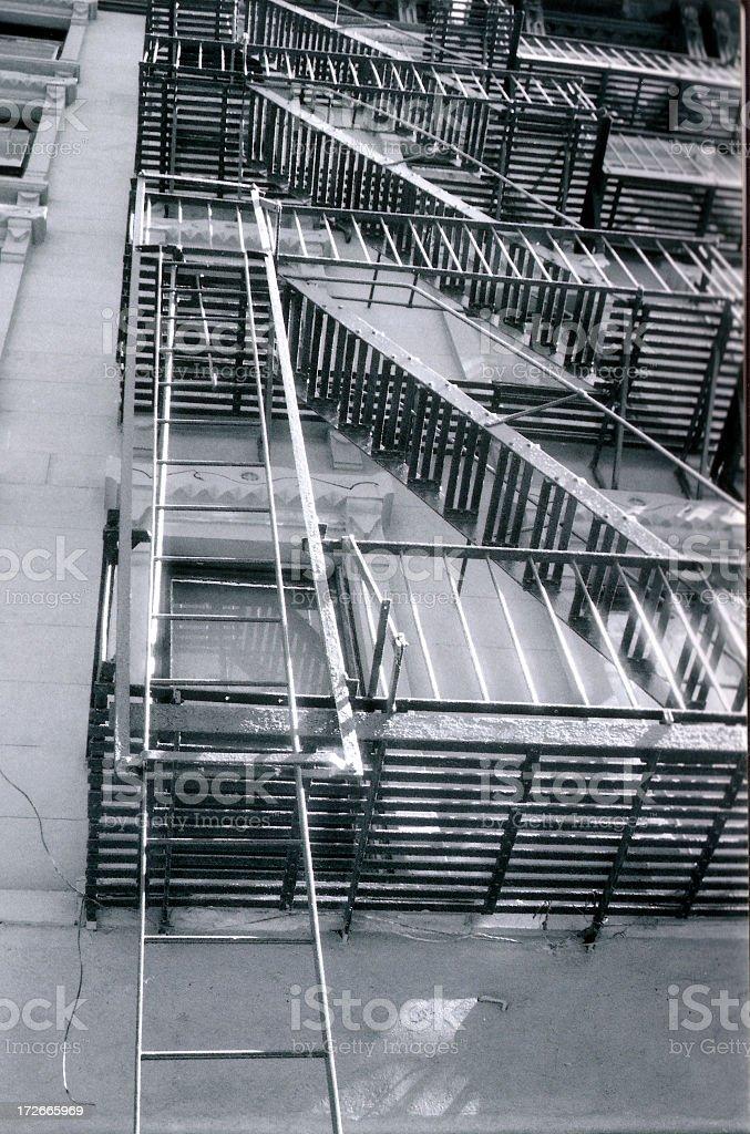 b&w fire escape in nyc (hi-rez) royalty-free stock photo