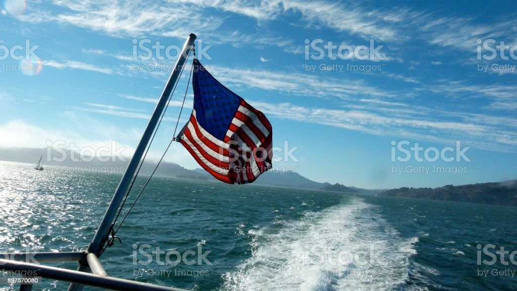 By boat through the San Francisco bay stock photo