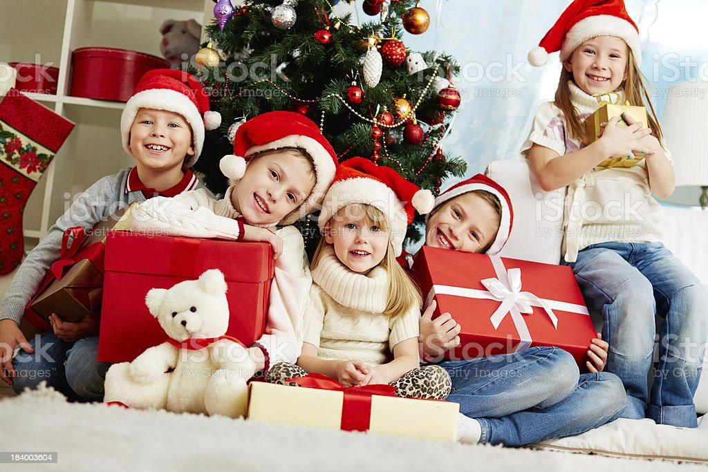By Christmas tree royalty-free stock photo